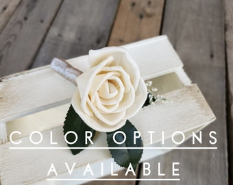 Upgraded Rose Boutonniere Wood Flower Boutonniere with Ribbon Wrapped Stems Groom Groomsmen Father of the Bride Pinned Flower Lapel Pin
