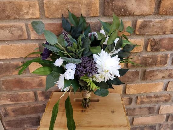 Plum and White Silk Flower Bouquet