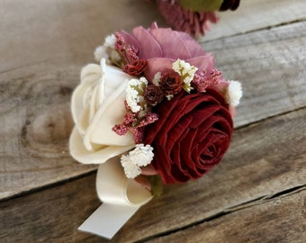 Burgundy, Mauve, and Cream Wood Flower Corsage, Wrist Corsage, Pinned Corsage, prom, homecoming, mother of the bride, mother of the groom