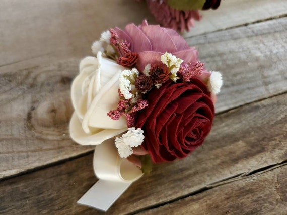 Wood Flower Corsage in Burgundy and Mauve