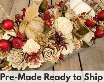Fall Floral Arrangement with Wood and Burlap Flowers, Sweater Pumpkin, Burlap Pumpkin, Crab Apples, and Wheat, Centerpiece Box