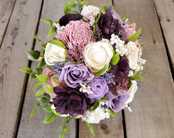 Garden Inspired Wood Flower Bouquet with Plum, Dusty Lavender, Blush Pink, and Cream Wood Flowers bridal bouquet bridesmaid flower girl
