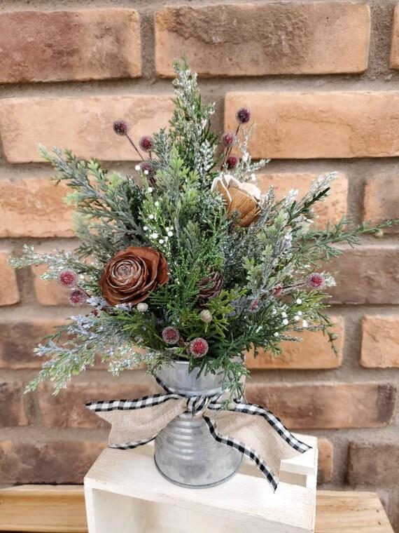 Christmas Inspired Wood Flower Arrangement