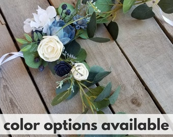 Floral Chair Swag or Garland for Wedding, Wedding Aisle Decor, Floral Garland, Ceremony Decor, Floral Swag