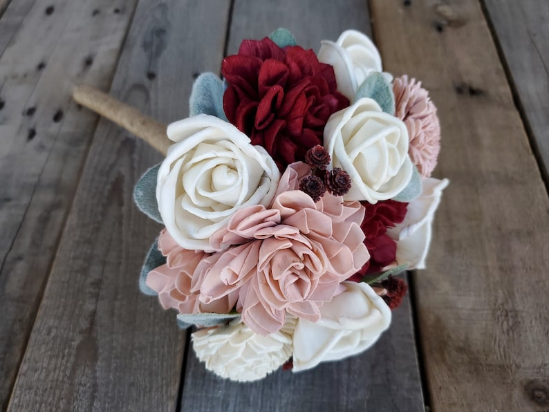 Simple Burgundy Blush and Cream Wood Flower Bouquet Bridal image 0