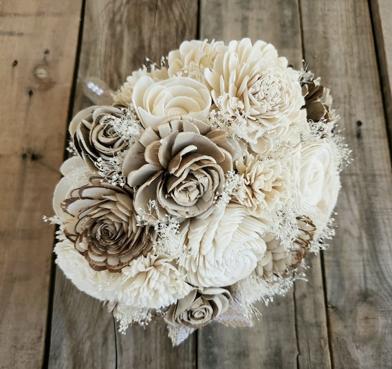 Rustic Wood Flower Bouquet in Cream and Raw Wood