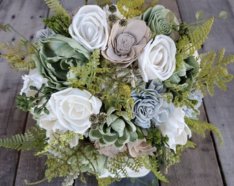 Premium Sage, Taupe, Light Gray, and Cream Wood Flower Bouquet for Bride, Bridesmaid, Flower Girl, Toss, Bridal Bouquet, Artificial Flowers