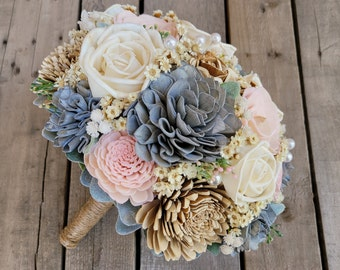 Rustic Wood Flower Bouquet with Light Pink, Sparkly Gray, Bark and Cream Wood Flowers and Pearl Option, bridal bouquet, bridesmaid bouquet