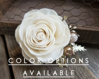 Wood Flower Boutonniere for Groom Gold Glitter Accents Groomsmen Father of the Bride Pinned Flower Lapel Pin