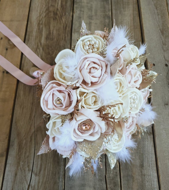 READY TO SHIP All Wood Rose Bouquet in Cream and Light Pink