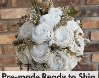 Wood Flower Kissing Ball with Gold Glitter Accents and a Gold Glitter Ribbon Christmas Ornament Flower Girl