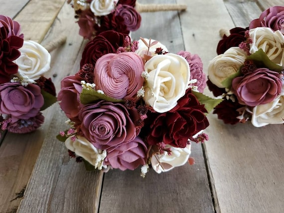 Wood Flower Bridesmaid Bouquet in Burgundy, Mauve, and Rose Bud Pink