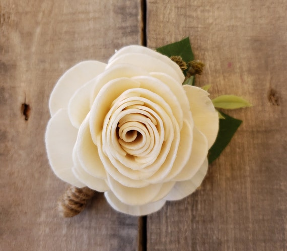 Wood Flower Boutonniere with Greenery