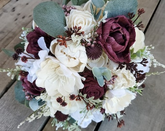 Premium Burgundy Wine and Cream Wood Flower Bouquet with Hydrangea, Silver Dollar Eucalyptus, Eucalyptus, Dusty Miller, Burgundy Thistle