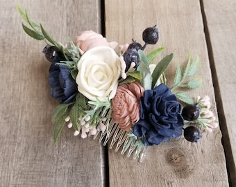 Wood Flower Bridal Hair Comb with Navy, Light Pink, and Cream Flowers, Hair Comb for Wedding, Bridal Up-Do Hair Comb