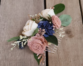 Wood Flower Bridal Hair Comb with Navy, Blush, and Cream Flowers and Rose Gold Accent, Hair Comb for Wedding, Bridal Up-Do Hair Comb