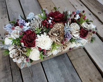 Wood Flower Christmas Centerpiece Box with Burgundy, Cream, and Bark Flowers, Red Berries, Pine Cones, and Sugared Cranberries
