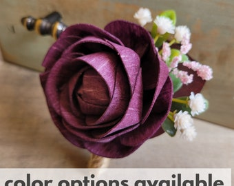 Wood Flower Boutonniere with Plum Eucalyptus Leaves, Boxwood, and Baby's Breath, Groom, Groomsmen, Lapel Pin, Pinned Flower for Wedding