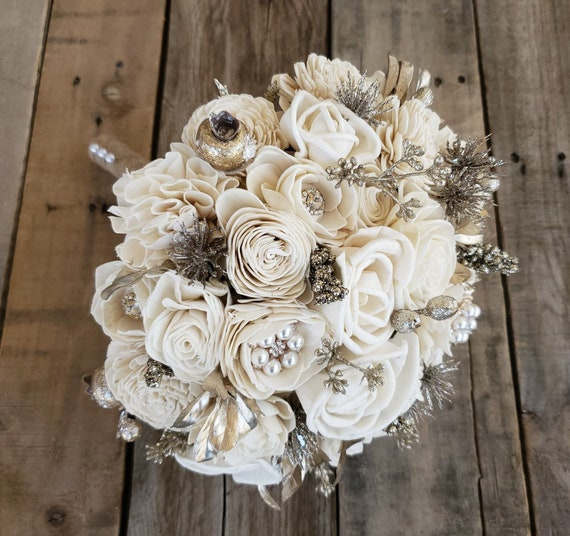 READY TO SHIP Cream with Gold Glitter and Brooch Wood Flower Bouquet