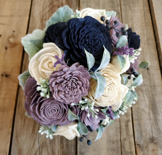READY TO SHIP Dusty Lavender and Navy Wood Flower Bouquet
