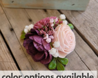 Wood Flower Wrist Corsage with Purple Eucalyptus Leaves, Boxwood, Baby's Breath, Color Options Available, Pinned Corsage, Wristlet