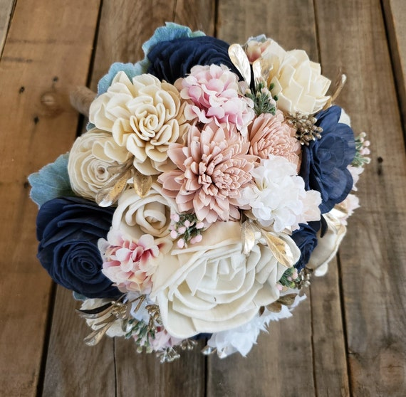 READY TO SHIP Navy, Blush Pink and Cream Wood Flower Bouquet with Gold Accent