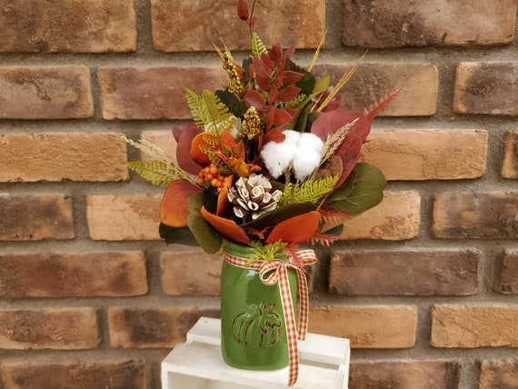 Fall Inspired Wood Flower Floral Arrangement