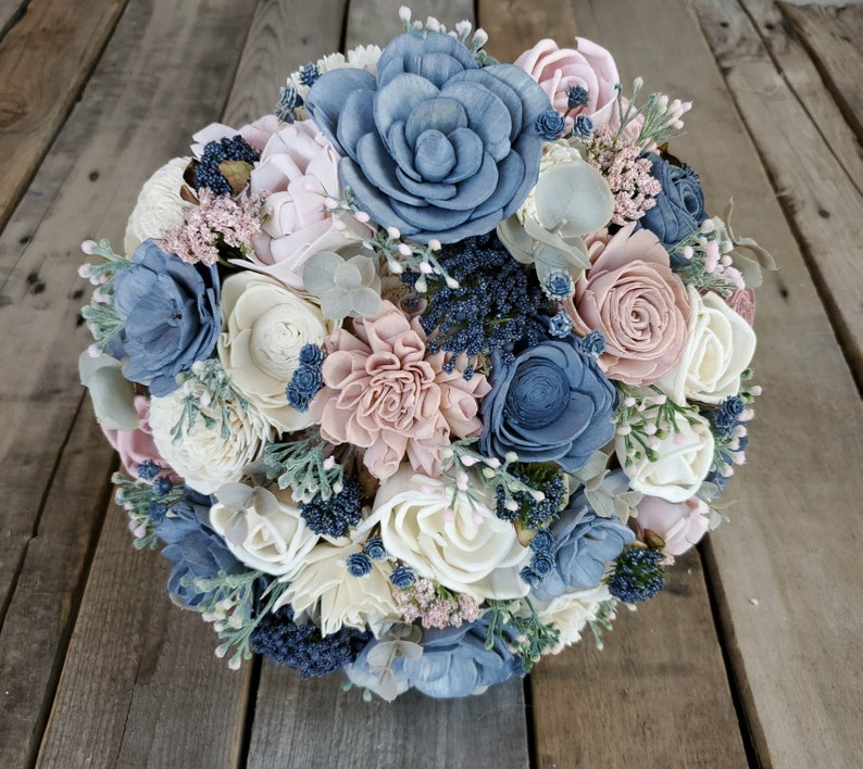and Lambs Ear and Cream Flowers Eucalyptus Dusty Miller READY TO SHIP Wood Flower Bouquet with Slate Blue Blush Pink bridal bouquet