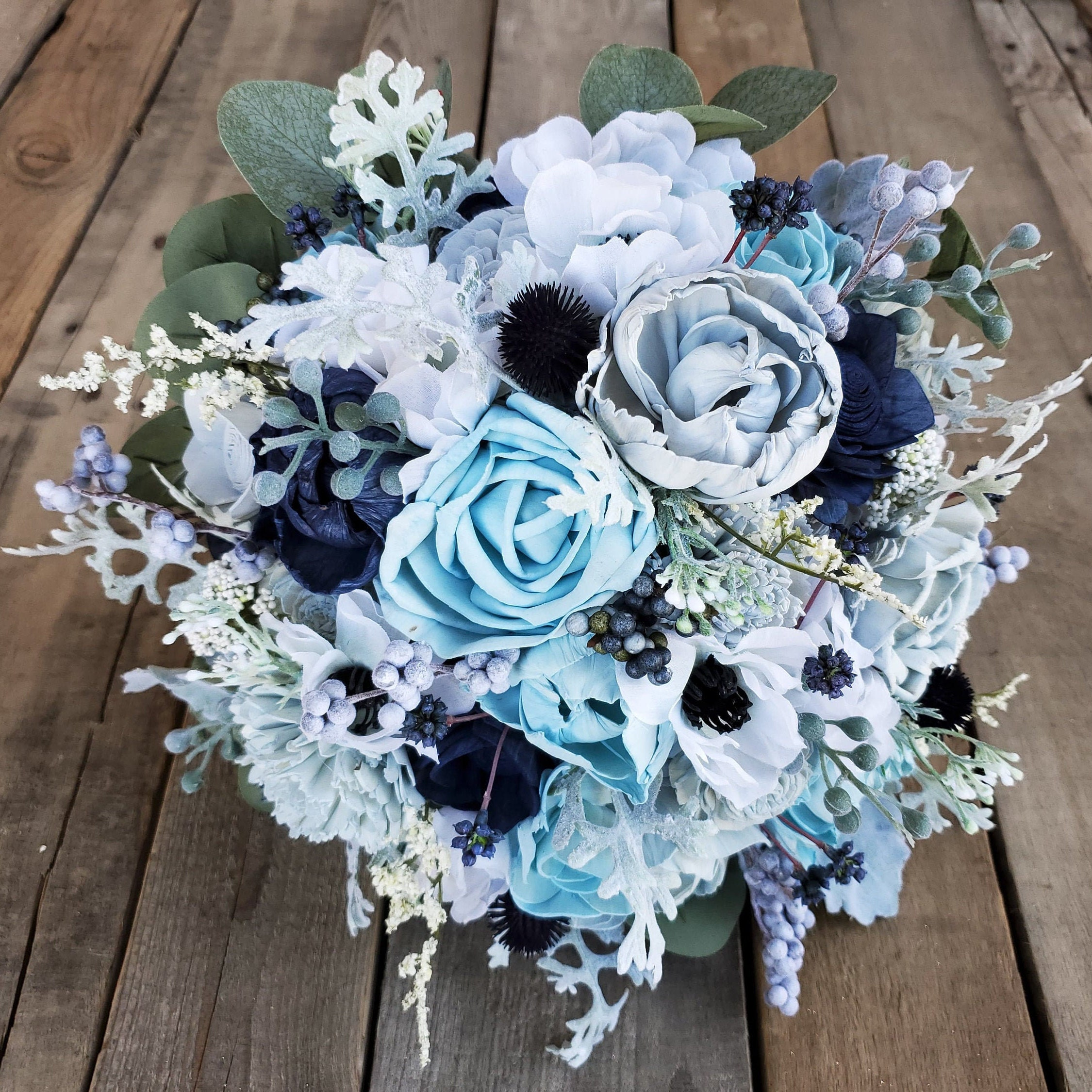 Premium Navy Blue Ice Blue And Dusty Blue Wood Flower Bouquet With Silk Anemones Silver Dollar Eucalyptus Dusty Miller Bride Bridesmaid