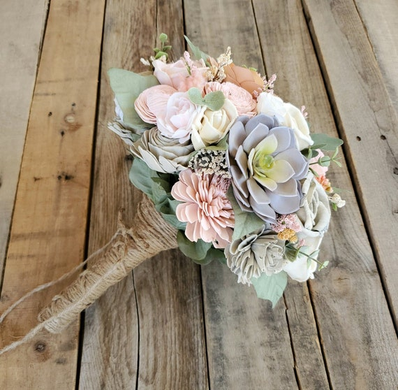 READY TO SHIP Light Pink, Gray, and Cream Wood Flower Bouquet with Succulents