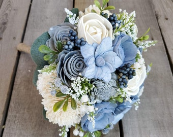 Slate Blue, Sterling Gray, and Cream Wood Flower Bouquet, bridal bouquet, bridesmaid bouquet, flower girl, toss bouquet