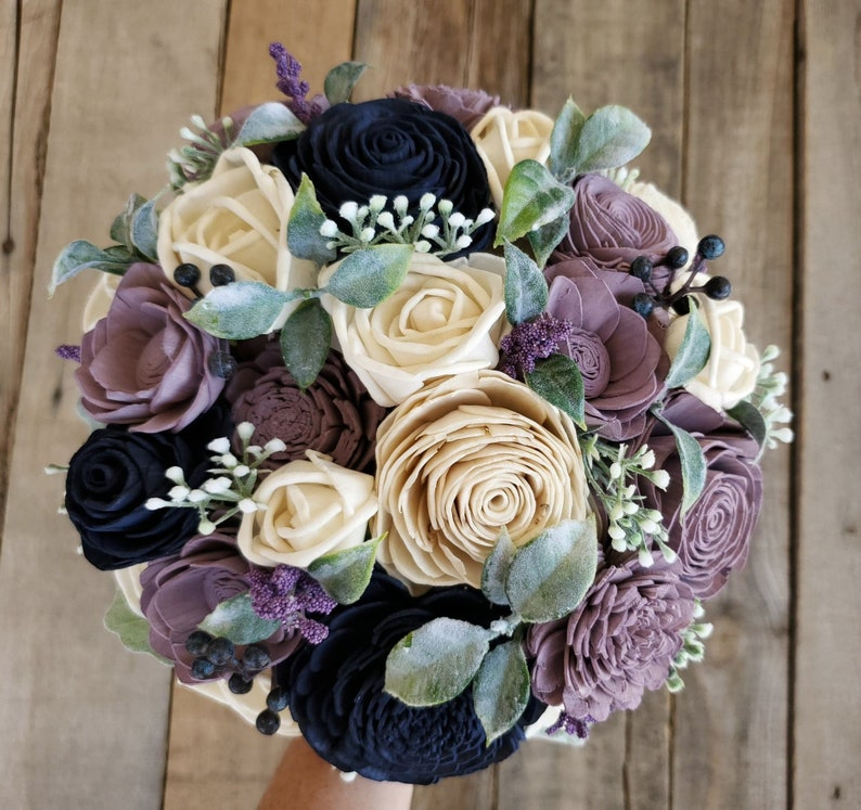 Dusty Lavender and Navy Wood Flower Bouquet for Bridesmaid or Bride with Dusty Miller