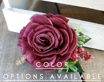 Wood Flower Boutonniere for Groom Christmas Wedding Groomsmen Father of the Bride Pinned Flower Lapel Pin