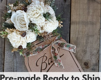 READY TO SHIP Metallic Bronze Wood Mason Jar Sign with Wood Flowers in Cream, Pine, Cypress, Bronze Glitter, and Pine Cones