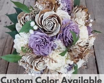 Sola Flower Bouquet Wood Flower Bouquet Rustic Wedding Bouquet Bridal Bouquet Brooch Glitter Bouquet Fake Flower Bouquet Wood Bouquet