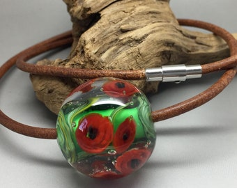 Boubel, glass bead, pendant, leather necklace
