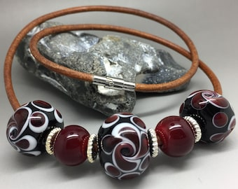Glass beads, necklace, red glass beads, lampwork beads