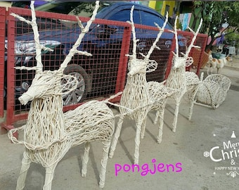 3 reindeer with sleigh christmas decoration rattan handmade handicraft indoor and outdoor display home garden office 4ft white