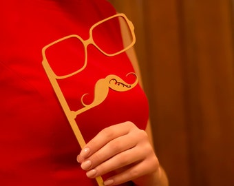 Wedding Photo Booth Props,Birthday Party Photo Booth Props,Wooden Photo props Mustache and Glasses on a stick,Gold mustache and glasses