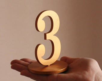 Wedding Table Numbers-Golden Table Numbers-Gold Wedding Numbers-Freestanding Wedding Number-Freestanding with base