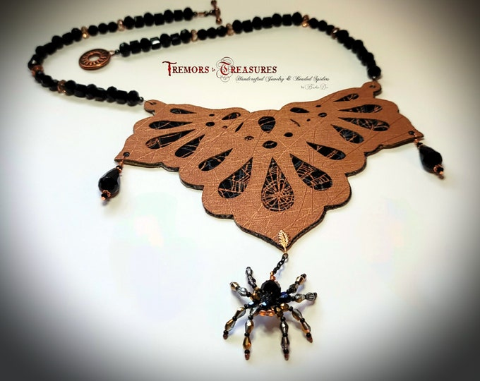 Featured listing image: Spider Necklace/Crystal Spider/Bib Necklace/Ornate Necklace/Halloween Necklace/Statement Jewelry/Crystal Spider/Faux Leather Jewelry