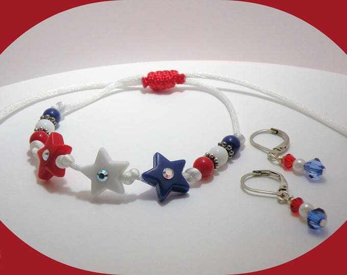 Featured listing image: ON SALE: Patriotic Red White and Blue Bracelet and Earrings Set