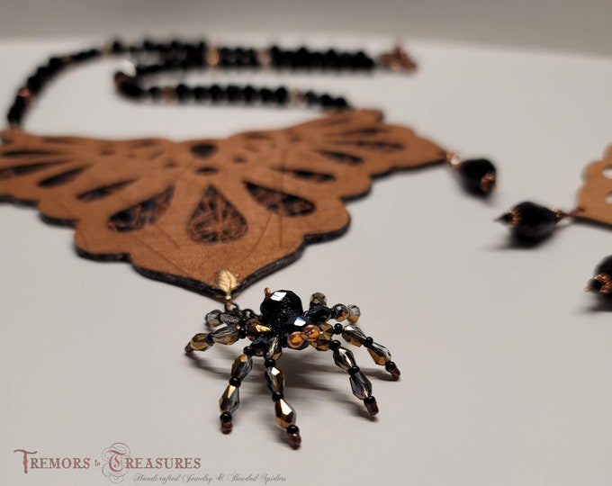 Featured listing image: Crystal Spider Necklace/Ornate Necklace/Jewelry Set/Statement Necklace with Earrings/Crystal Spider/Faux Leather Jewelry/Gift Idea for Women