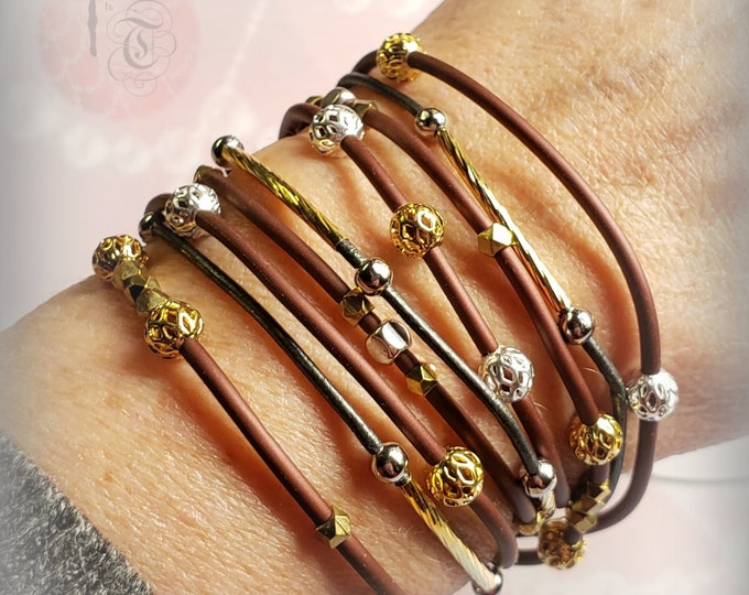 Featured listing image: Wrap Bracelet/Gold and Silver Wrap Bracelet/BOHO Anklet/Three Strand Necklace/Beaded Bracelet/Leather Wrap Bracelet/Wrap Anklet/Gift Idea