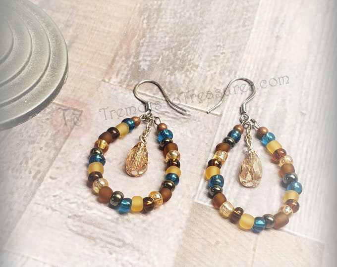 Featured listing image: BOHO Earth Tones Hoop Earrings/Hoop Earrings/Beaded Teardrop Earrings/Amber Crystal Earrings/Swarovski Crystal Earrings/Gift Ready