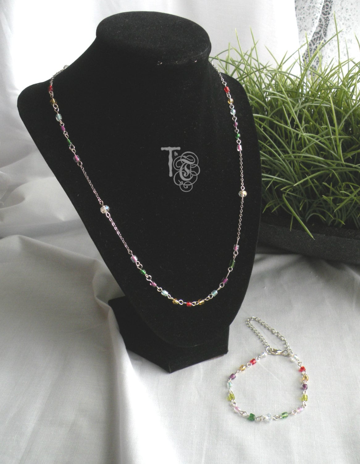 Swarovski Crystals And Colorful E Bead Jewelry Set Delicate Rosary