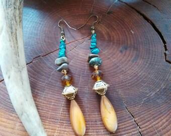 Turquoise Earrings, Native American Made, Cherokee Made Earrings, tsalagi