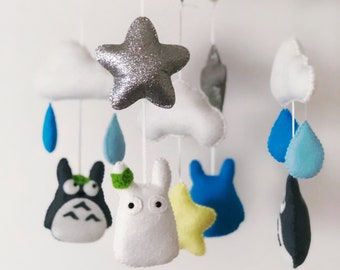 Totoro baby mobile with rain clouds and stars