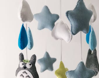 Blue, grey and yellow totoro baby mobile with rain clouds and stars