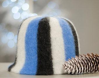 Striped (white, blue, dark grey) sauna hat